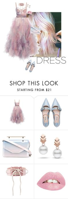 """""""Pink dress"""" by blondsailorina ❤ liked on Polyvore featuring Marchesa, Miu Miu, M2Malletier and Escalier"""