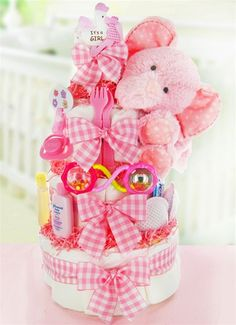 Plush Elephant Diaper Cake For Girls