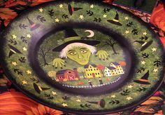hand painted halloween wood bowl - Google Search