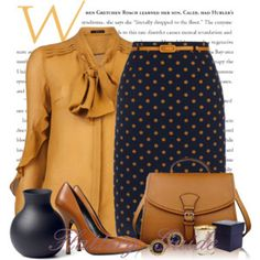 A fashion look from November 2014 featuring Etro blouses, Yumi skirts and Giuseppe Zanotti pumps. Browse and shop related looks. Stylish Work Outfits, Classy Outfits, Stylish Outfits, Business Outfits, Business Fashion, Work Fashion, Fashion Looks, 70s Fashion, Professional Outfits