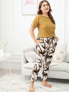 Shop Plus Bamboo Leaf Print Pajama Set online. SHEIN offers Plus Bamboo Leaf Print Pajama Set & more to fit your fashionable needs. Fashion News, Fashion Outfits, Night Outfits, Fashion Fashion, Vintage Fashion, Womens Fashion, Pijamas Women, Plus Size Pajamas, Bamboo Leaves