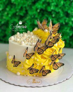 Sunflower Birthday Cakes, Butterfly Birthday Cakes, Cute Birthday Cakes, Sunflower Cakes, Beautiful Birthday Cakes, Butterfly Cakes, Beautiful Cakes, Creative Cake Decorating, Birthday Cake Decorating