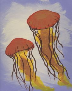Pair of Orange Jellyfish - Free Arts Academy- Art From Our Channel Art Paintings For Sale, Acrylic Paintings, Art For Sale, Flower Landscape, Sky Painting, Art Academy, Jellyfish, Pet Portraits, Abstract Art