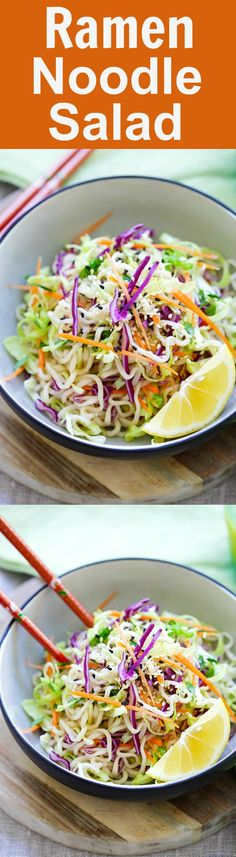 Ramen Noodle Salad – Asian salad made with ramen noodles, cabbage and carrots in a tangy and appetizing dressing. So healthy and delicious | rasamalaysia.com