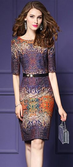 Women's Going out Plus Size Street chic Bodycon Dress,Print Round Neck Knee-length Half Sleeves Dress