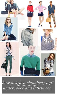 how to style a chambray shirt- try mine over striped t or tank