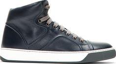Lanvin Navy Classic High-Top Sneakers