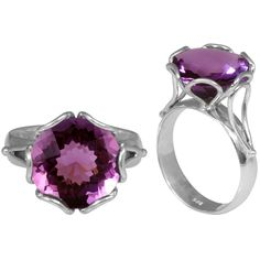 Faceted round-cut amethyst ring Sterling silver jewelry http://www.overstock.com/downloads/pdf/2010_RingSizing.pdf'><span class='links'>Click here for ring sizing guide</span></a></li>