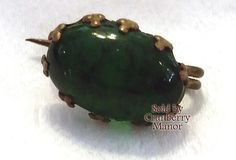 Victorian Brooch Emerald Green Jelly Belly Glass by CranberryManor