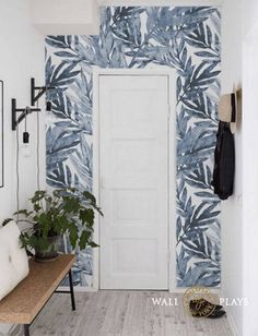 Watercolor Tropical leaves Removable Wallpaper, Wall mural, Peel and stick, Floral wallpaper,