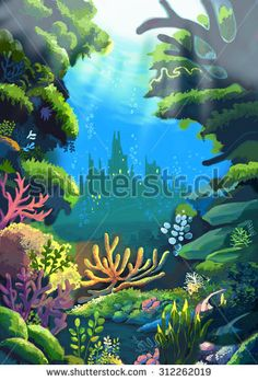 Illustration: The Sea where the Little Mermaids'  Father live. Realistic Style. Scene / Wallpaper / Background Design. - stock photo