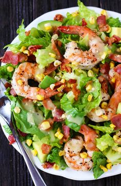 Shrimp Roasted Corn and Avocado Salad