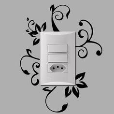 Adesivo para interruptor Floral, adesivo de interruptor, adesivo elegante, adesivo elegância, adesivo de floral, adesivo de florais