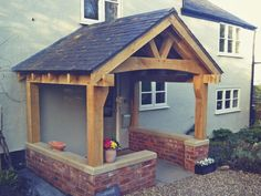High Quality Oak Porches & Oak Timber Frames at fair prices. Our hand-crafted, lovingly made bespoke oak porch will provide a beautiful addition to any property Front Porch Seating, Front Porch Design, Side Porch, Porch Oak, Porch Entry, Porch Gable, Oak Framed Extensions, Music Studio Room, Carport Designs