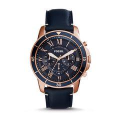 Montre Grant Sport chronographe en cuir bleu