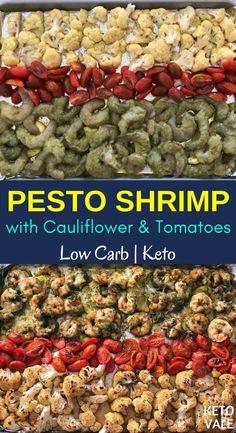 Keto Baked Pesto Shrimp with Cauliflower Low Carb Recipe - Keto Baked Pesto Shrimp with Cauliflower Low Carb Recipe Keto Seafood Recipes Keto Pesto Shrimp with Cauliflower Low Carb Recipe via Keto Vale - Ketogenic Diet Recipes - Pesto Shrimp, Baked Shrimp, Pescatarian Recipes, Vegetarian Recipes, Vegan Meals, Tempura Recipe, How To Make Pesto, Low Carb Recipes, Healthy Recipes