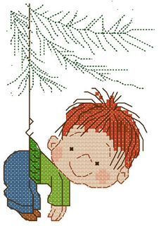 Sandrinha Ponto Cruz boy hanging on tree Tiny Cross Stitch, Xmas Cross Stitch, Cross Stitch For Kids, Cross Stitch Needles, Counted Cross Stitch Patterns, Cross Stitch Charts, Cross Stitching, Cross Stitch Embroidery, Embroidery Patterns