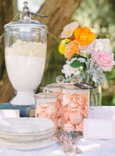 Decor from a Coral Wedding #coral #wedding - i like it. Great ideas with candies. It's nothing yet makes it look cute