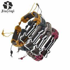 Jiayiqi 4 pcs/ set Hot Sale Vintage Hollow Guitar Leather Bracelet for Women And Men Jewelry Pulseira Masculina Friendship Gift