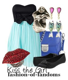 """""""Kiss the Girl"""" by fofandoms ❤ liked on Polyvore featuring Audrey Brooke, Te Amo, Trollbeads, Call it SPRING, Betsey Johnson, kiss the girl, disney fashion, ariel, the little mermaid and disney"""