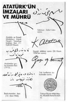 ♥Signatures by Atatürk over the years.