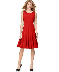 Calvin Klein Dress, Sleeveless Pleated A-Line - Womens Dresses - Macy's