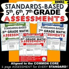 5th, 6th, 7th Grade Math Standards Based Assessments. Includes a 1-page  assessment for every standard, a student checklist for each domain, a class tracking sheet. Common Core: Operations & Algebraic Thinking (5.OA), Number & Operations in Base Ten (5.NB