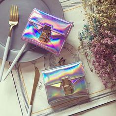 2017 New Hologram Laser Bag Handbag Wallet Purse Laser Silver Bag Women's Clutch Handbag Make-up Mini Clutch Evening Bag