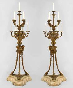 French Louis XVI lighting floor lamp/torch�re bronze