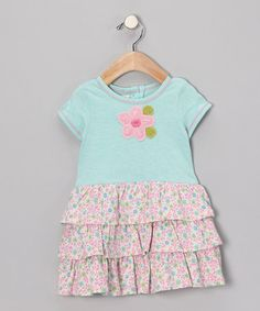 Another great find on #zulily! Blue Flower Ruffle Dress - Infant & Toddler #zulilyfinds