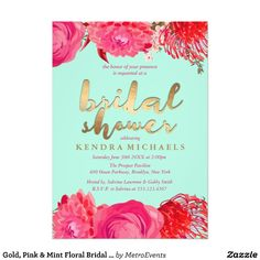 Gold, Pink & Mint Floral Bridal Shower Invitations