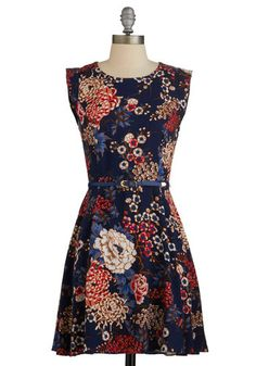 Twilight on the Terrace Dress. You feel right at home on the flower-covered patio at dusk in this floral-print A-line frock! NaN