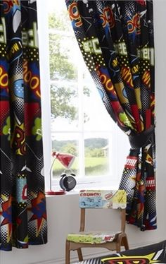 Comic - Superhero Lined Curtains Superhero bedroom - boys curtains