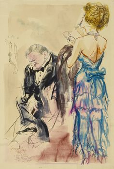 George Grosz (German, 1893 - 1959) Heavy Thoughts, 1929Pen and Indian ink, washed, 60,1 x 42,1 cm