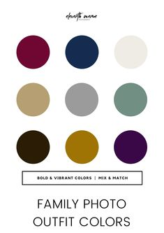 Family photo outfit color palette including berry, mustard, deep purple, navy, white, khaki, grey, mint, and brown. Use muted colors with a few of these bright accent colors!