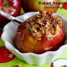 Baked Apples with Oatmeal Filling are easy to make, tender, juicy, and just waiting for a drizzle of maple syrup or a scoop of vanilla ice cream.  #AllrecipesAllstars   #MyAllrecipes  #AllrecipesFaceless #ComfortFood #BakedApples #FallDessert