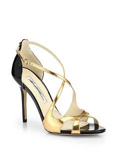 Brian Atwood Kalliope Crisscross Mirror Leather Sandals