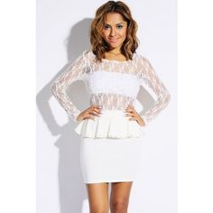 ivory bejeweled peplum fitted mini skirt