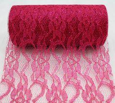 "Fuchsia Sparkle Lace Ribbon 6"" x 10 Yards - Click Image to Close"