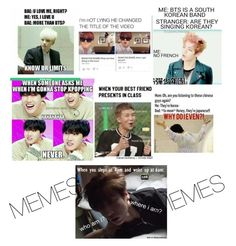 """""""BTS MEMES"""" by animetomusic ❤ liked on Polyvore featuring beauty"""