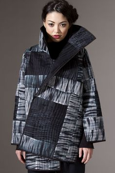 Quilted Artist Coat Hand-dyed arashi shibori, silk organza and fine denier microfiber, hand-cut, pieced, quilted