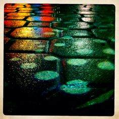 Reflections of colored lights on wet pavement. Modern Photography, Photography Projects, Abstract Photography, Creative Photography, Fine Art Photography, Reflection Photography, Abstract City, Abstract Photos, Overlays