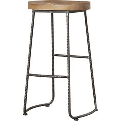 Borough Wharf The curry wood bar stool is a great rustic bar stool for any decor. Made with a pine wood seat and steel legs, this seat will fit perfectly under any bar height table. The footrest and contoured saddle seat offers you much comfort.