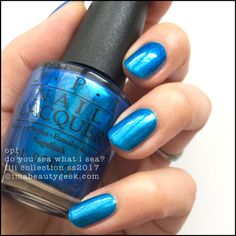 """OPI """"Do You Sea What I Sea?"""" Gel polish from its 2017 Fiji Collection! beautiful blue with lots of shimmer! Opi Blue Nail Polish, Opi Nails, Blue Nails, Opi Fiji Collection, Nail Polish Collection, Fancy Nails, Pretty Nails, Nail Candy, Colorful Nail Designs"""