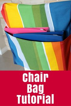 Chair Bag Tutorial - Sew a bag to hang on the back of a chair with this chair bag tutorial - perfect for school or your desk at home. Sewing Tutorials, Sewing Projects, Bag Tutorials, Sewing Crafts, Diy Chair, Chair Fabric, Dorm Chair Covers, School Chair Pockets, Seat Sacks