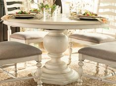UF-996655 Paula Deen Linen Round Pedestal Table