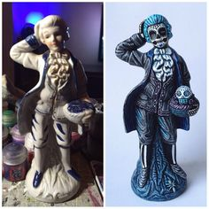 muertify: muertos vintage handpainted baroque figurine - New Ideas Halloween 2020, Holidays Halloween, Halloween Party, Happy Halloween, Homemade Halloween Decorations, Halloween Crafts, Halloween Costumes, Goth Home Decor, Arte Obscura