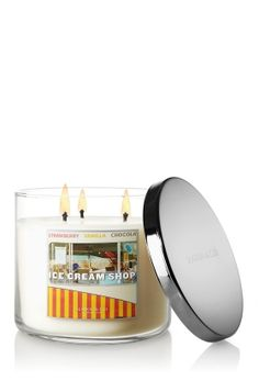 NEW Ice Cream Shop 3-Wick Candle – creamy vanilla, rich toffee and sweet almond blossom with a cherry on top ♥