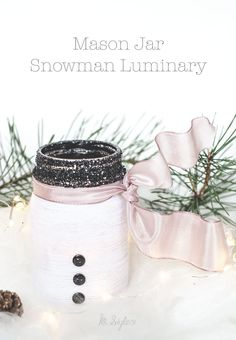 DIY yarn wrapped snowman luminary Holiday decor or gift.