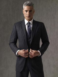 black pinstripe suit and purple tie - Căutare Google | CHESTI DE